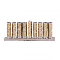 Candle Menorah Silver Colored Aluminum Cylinders with Exquisite Brass Metal Cutouts by Yair Emanuel