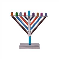 Yair Emanuel Candle Menorah Chabad Style Multi Color 7.5""