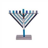 Yair Emanuel Candle Menorah Chabad Style Multi Tone Blue 7.5""