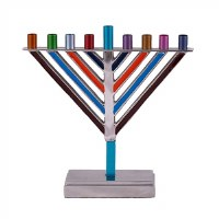 Yair Emanuel Candle Menorah Chabad Style Multi Color 8.5""