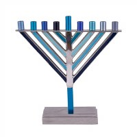 Yair Emanuel Candle Menorah Chabad Style Multi Tone Blue 8.5""