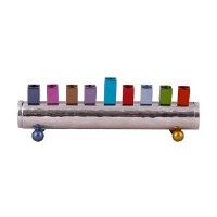 Candle Menorah Hammered Cylinder Shaped Strip Colorful by Yair Emanuel