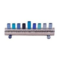 Candle Menorah Hammered Cylinder Shaped Strip Blue by Yair Emanuel