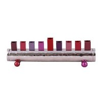 Candle Menorah Hammered Cylinder Shaped Strip Maroon by Yair Emanuel