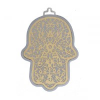 Hamsa Emanuel Anodized Aluminum Pomegranate Cutout Brass on Silver