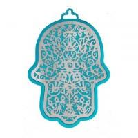 Hamsa Emanuel Anodized Aluminum Pomegranate Cutout Silver on Turquoise