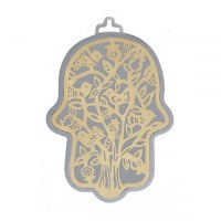 Hamsa Emanuel Anodized Aluminum Outdoor Tree Cutout Design Brass on Silver