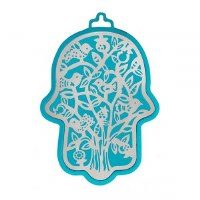 Hamsa Emanuel Anodized Aluminum Outdoor Trees Cutout Silver on Turquoise