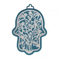Hamsa Emanuel Anodized Aluminum Outdoor Tree Cutout Design Silver on Navy