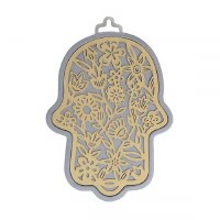 Hamsa Hand Laser Cut Flowered Brass and Silver Design