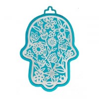 Hamsa Emanuel Anodized Aluminum Flowers Cutout Silver on Turquoise