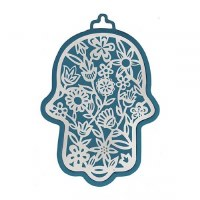 Hamsa Emanuel Anodized Aluminum Flowers Cutout Silver on Navy Blue