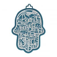 Hamsa Hand Emanuel Anodized Aluminum Jerusalem Cutout Silver on Navy Blue