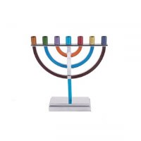 Yair Emanuel 7 Branch Menorah Mulitcolor Rounded Cups and Branches Small Size