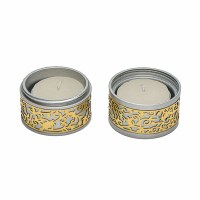 Yair Emanuel Folding Travel Candlesticks Aluminum with Gold Color Metal Cutout