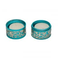 Yair Emanuel Folding Travel Candlesticks Aluminum Turquoise with Metal Cutout