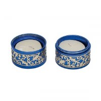 Yair Emanuel Folding Travel Candlesticks Aluminum Blue with Metal Cutout