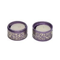 Yair Emanuel Folding Travel Candlesticks Aluminum Purple with Metal Cutout