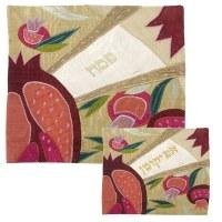 Yair Emanuel Raw Silk Matzah Cover and Afikoman Bag Set - Crown Silver