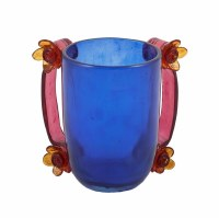 Yair Emanuel Polyresin Washing Cup Blue with Maroon Flower Handles
