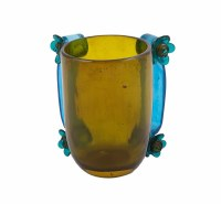 Washing Cup Polyresin Green Base and Blue Handles Accented with Flowers Designed by Yair Emanuel