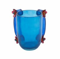 Washing Cup Polyresin Turquoise Accented with Flowers Designed by Yair Emanuel