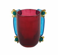 Washing Cup Polyresin Maroon Base and Blue Handles Accented with Flowers Designed by Yair Emanuel