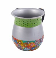 Washing Cup Metal Multicolor Fimo Floral and Polka Dot Pattern Designed by Yair Emanuel