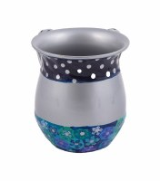 Washing Cup Metal Blue Fimo Floral and Polka Dot Pattern Designed by Yair Emanuel