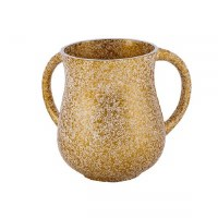 Wash Cup Metal Gold Colored Marble Design by Yair Emanuel