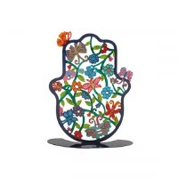 Yair Emanuel Self Standing Hamsa Hand Painted Butterflies Design