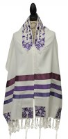 "Yair Emanuel Tallis Purple Stripes and Magen David Design 20"""
