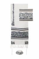 """Yair Emanuel Embroidered Tallit Jerusalem Black Design 20"""" x 75"""""""