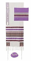 Multi Fabric Tallis Purples Striped Design by Yair Emanuel