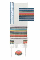 Multi Fabric Tallis Mulitcolor Striped Design by Yair Emanuel