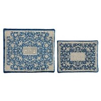 Yair Emanuel Full Embroidered Tallit and Tefillin Bag Set - Blue and Silver