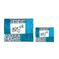 Yair Emanuel Embroidered Tallit and Tefillin Bag Set with Patches - Pomegranates Blue
