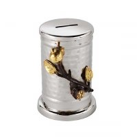 Yair Emanuel Hammered Tzedakah Box Accentuated with Pomegranate Branch