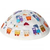 Yair Emanuel Embroidered Kids Kippah White with Colorful Trains