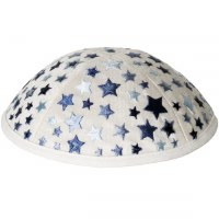 Yair Emanuel Embroidered Kids Kippah White with Blue Stars