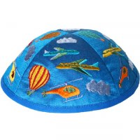 Yair Emanuel Embroidered Kids Kippah Blue with Multi Colored Air Transport