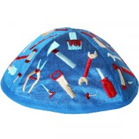 Yair Emanuel Embroidered Kids Kippah Blue with Tools