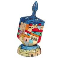 Yair Emanuel Large Painted Dreidel With Stand - Jerusalem in Color