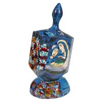 Yair Emanuel Large Painted Dreidel With Stand - Figures in Blue
