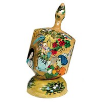 Yair Emanuel Large Painted Dreidel With Stand - Gold