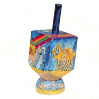 Yair Emanuel Small Painted Dreidel With Stand Noah's Ark Design