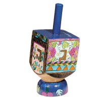 Yair Emanuel Small Painted Dreidel With Stand - Floral Design