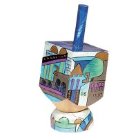 Yair Emanuel Painted Dreidel Wood with Stand Small Jerusalem View Design