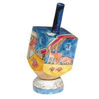 Yair Emanuel Small Painted Dreidel With Stand - Noah's Ark