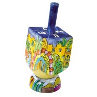 Yair Emanuel Small Painted Dreidel With Stand - Seven Species